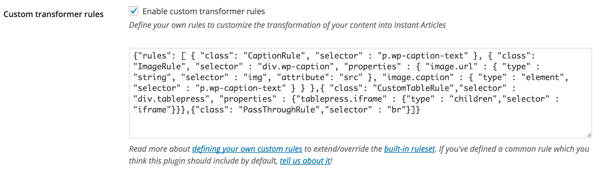 Define your own rules to customize the transformation of your content into Instant Articles